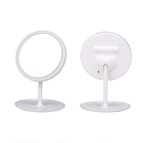 Miroir cosmétique LED, Petit Miroir cosmétique de comptoir, Conception de Chargement USB, Gradation en continu au Toucher, Rotation de 90 °, Base de Rangement Amovible