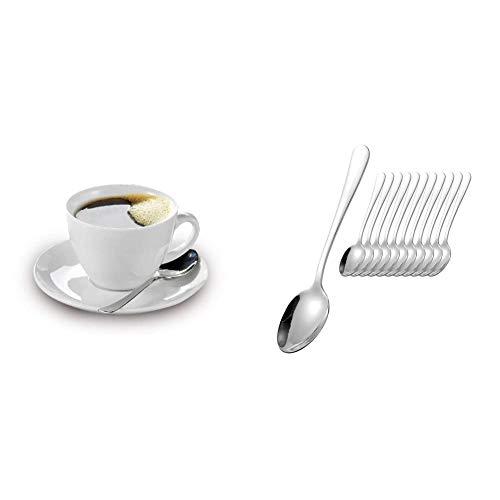 Esmeyer Kaffee-Tassen Bistro 0,20l mit Untertasse 12-teilig, Porzellan, Weiß, 31.5 x 18 x 12 cm & 156-120 12-teiliges Kaffeelöffel-Set Modell