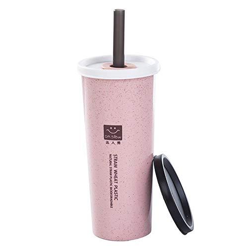 LINKLANK Tazas de paja de 450 ml de paja de trigo de plástico, taza de té con tapas, taza reutilizable para niños, adultos, hogar, oficina, camping, viajes