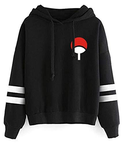 HUASON Herren Naruto Hoodie Japanischer Anime Kapuzenpullover Uchiha Unisex Langarm Sweat-Shirt(L)