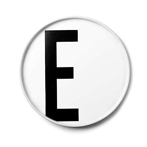 Design Letters Assiette Personnalisée en Blanc Porcelaine Fine de A-Z - E – Assiette Decorative, Idéal décorer, comme Cadeau Personnel, ou pour Les Repas, Compatible Lave-Vaisselle, D: 20cm