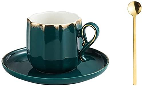 SXDYJ Taza de café y platillo de Porcelana,Conjunto de cócteles de Coco Pintado a Mano Creativo con Mango de Cacao Tazas par de Taza Taza Taza de Agua (Color : Verde)