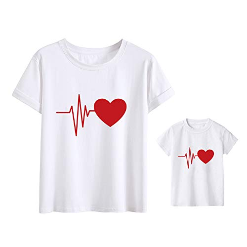 Heartbeat Love Funny Mom Son Daughter Matching T-Shirts Mother & Daughter Matching Set Mom & Baby Shirts White