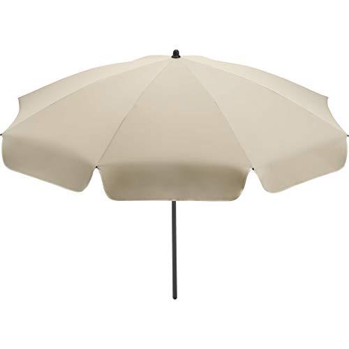 FARE Sonnenschirm Klassik Gr. S - 165cm Durchmesser - UV-Schutz 50+ für Balkon Garten Terrasse Sommer - Titan-Finish inkl. Drehfeststeller Sicherheitsschieber Tragetasche (Natur)