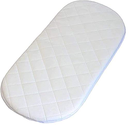 GAX Quilted Cover Moses Basket Mattress Protector Classic Oval Shaped Fitted Sheet Waterproof with Dry Effect Hypoallergenic Microfibre (75 X 35 CM)