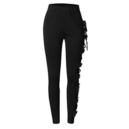 Women's Gothic Pants Lace Up Plus Size Criss Cross Buckle Strap Skinny Leggings Steampunk Trousers Streetwear Black