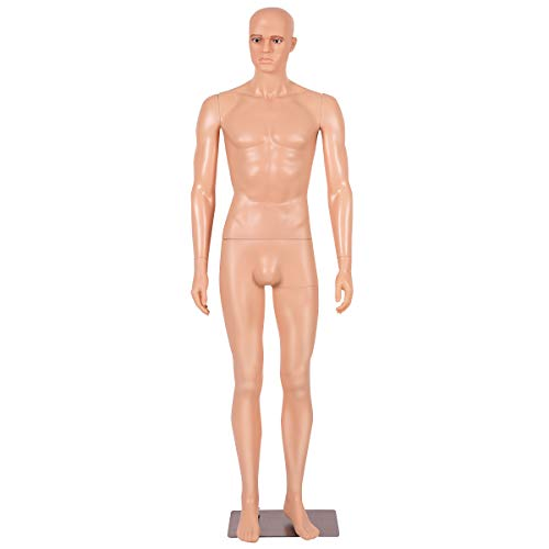 Giantex 6 FT Adjustable Male Mannequin Make-up Manikin Metal Stand Plastic Full Body Realistic