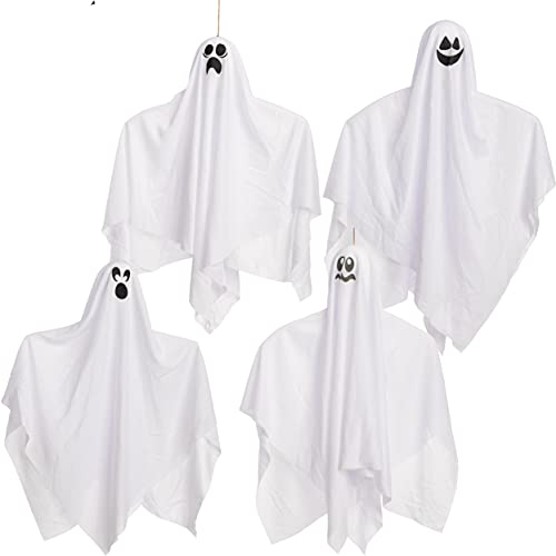 """27.5"""" Halloween Hanging Ghosts Glow in the dark(4 Pack) for Halloween Party Decoration, Cute Flying Ghost for Front Yard Patio Lawn Garden Party Décor and Holiday Halloween Hanging Decorations"""