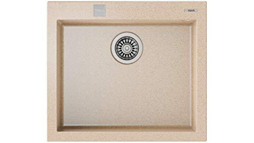 Teka 115230007 - Fregadero de cocina hecho de granito (granito) con un solo cuenco Forsquare 50.40 TG avena-115230007, color beige