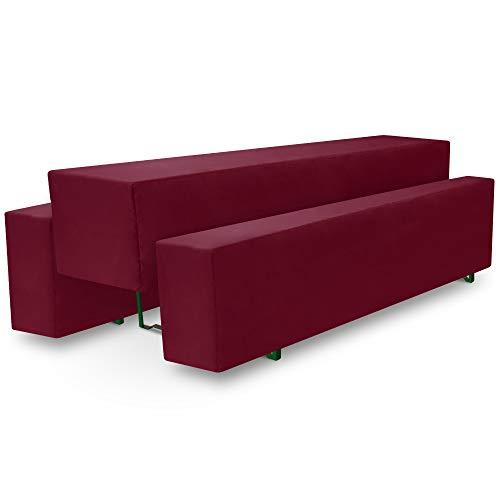 Beautissu Basic M Bierbank-Hussen & Biertisch-Husse 3tlg. Set 50cm breite Festzeltgarnitur Bierzeltgarnitur Dunkel-Rot & weitere Farben