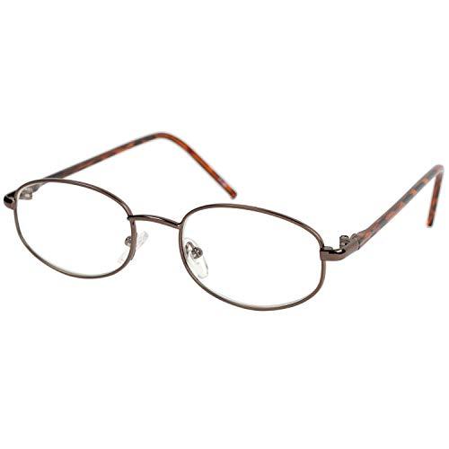 藤田光学 老眼鏡 メンズ 3.5 度数 メタルフレーム ブラウン FR-05 +3.50