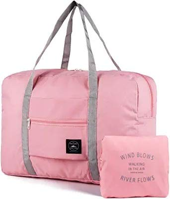 kuou Foldable Travel Duffles Bag, Nylon Water Resistant Packable Travel Bag for Sport, Gym, Vacation (Pink)