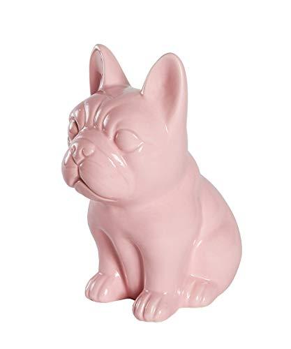 Nayothecorgi Ceramic Dog Statue - Sitting French Bulldog (Shiny Pink)