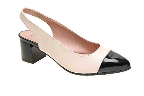 Zapato Tipo Salon Descubierto en Piel Charol Volga (Negro/Nude, Numeric_41)