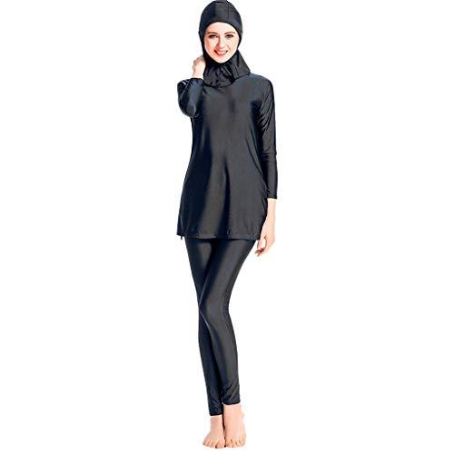 Dicomi Damen Muslim Badeanzug und Hut Sommer Lässig Mode Einfach Einfach Konservativ Slims Volltonfarbe Strand Dreiteiliger Frauen Schwimmanzug Schwarz M