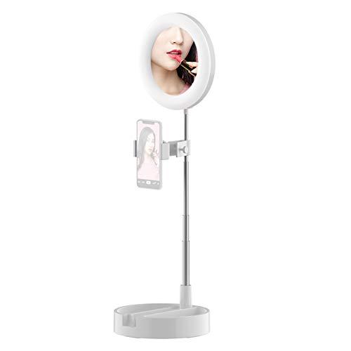 Zwbfu Anillo de luz LED portátil Lámpara de círculo de Escritorio Plegable Luz de rellecon Espejo de Maquillaje Soporte para teléfo3 Modos de Color y 10 Niveles de Brillo para grabación de Video