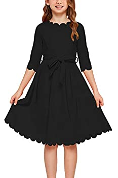 GORLYA Girl s 3/4 Sleeve Casual Scalloped Edge A-line Belted Dress with Pockets for 4-14T Kids  GOR1031 11-12Y Black