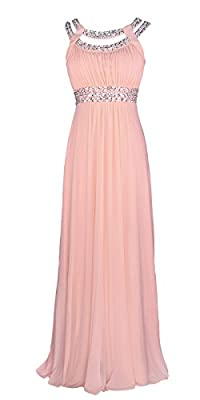 Licoco Women Sleeveless Beaded Semi-Formal Long Maxi Evening Gown Wedding Dress