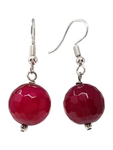 TreasureBay - Pendientes colgantes de ágata rosa de 14 mm para mujer