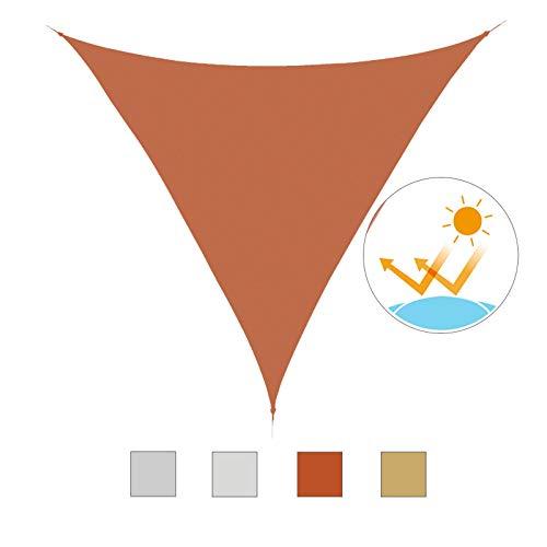 HOMCOM Outsunny Toldo Vela Color Naranja sombrilla Parasol triangulo Tela de Poliéster 160g/㎡ Jardin Playa Camping Sombra Medidas, Medida 4x4x4 Metros, Color Naranja