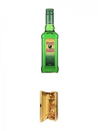 Bols Pisang Ambon Likör 1,0 Liter + 1a Whisky Holzbox für 1 Flasche mit Hakenverschluss