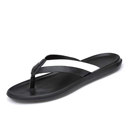 Jiahe Sandalias para Hombre Flip Flop Tanga de Cuero Interior y Exterior Impermeables Antideslizantes de Playa Zapatillas Casuales,A,39