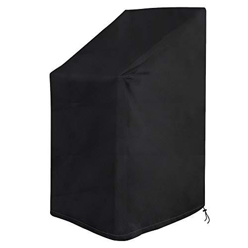 Vzesok Housse de Protection pour Chaise de Jardin Empilables Imperméable Housse pour Fauteuils de Jardin avec Cordon Intégré 420D Oxford Noir 65 x 65 x 80/120 cm