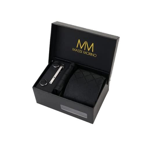 Massi Morino ® Set de corbata (caja regalo para hombres) Corbatas de hombre y pañuelos + gemelos + clip de corbata (Cuadrado Negro)