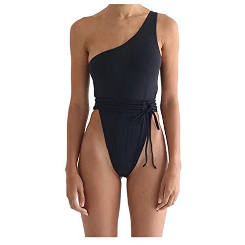 Posional Bikini de Plage Femme Une pièce Halter V Back Dos Nu Couleur UnieRembourré Taille Haute Amincissant Slim Vintage Expert Sport Shorty Chic Natation Piscine - Noir - EU 36