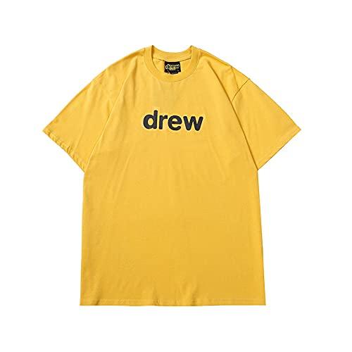 Luanda* Drew Smiley House Camisetas para Hombre, ImpresióN Pareja Manga Corta, Camiseta, Camiseta, Cuello Redondo Original, No Se Desvanecen, Regalo De CumpleañOs/Amarillo/L
