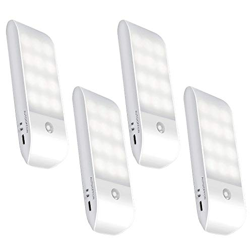 センサーライト 屋内 人感 USB充電式 12LED 省エネ 超寿命 マグネット付き 階段 クロゼット 玄関に最適(4個)