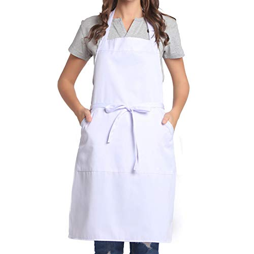 BIGHAS Adjustable Bib Apron with Pocket Extra Long Ties for Women Men 18 Colors Chef Kitchen Home Restaurant Cafe Cooking Baking White