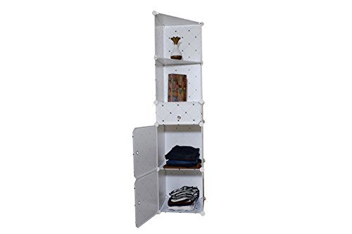 nyrwana portable and foldable multipurpose cupboard shelf standard storage cabinet white wall side corner organizer rack shelf -black & white