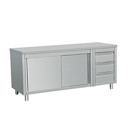 EQ Kitchen Line Stainless Steel Commercial Prep Work Table Sliding Door Storage Cabinet and 3 Drawers on Left 80'L x 28'W x 34'H