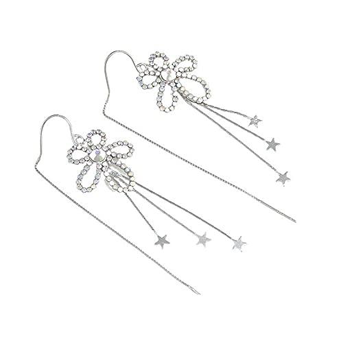 S925 Color Plata Esterlina Flor De Diamante Temperamento Pendientes Largos De Borla Cara Redonda Mujer Delgada