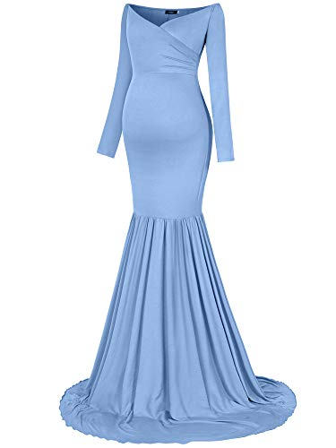 Molliya Maternity Long Dress Off Shoulder Elegant Fitted Mermaid Maxi Gown for Photoshoot Light Blue