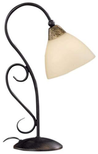 Honsel Leuchten 95861 - Lámpara de mesa, cristal antiguo color alabastro, metal color marrón rojizo