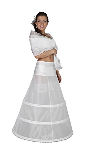 Nina Brautmoden Reifrock Brautkleid 320 cm Umfang 3 Reifen -H10-320 (XS, weiß)