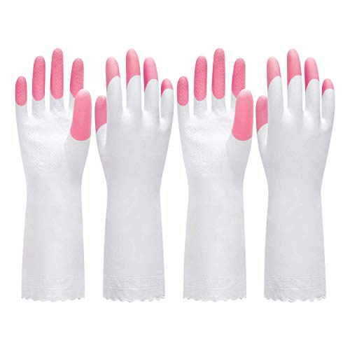 Product Image 3: Pacific PPE 4Pairs Flocked Liner Dishwashing Gloves & 2Pairs Unlined Cleaning Gloves Reusable Latex Free Waterproof PVC Gloves for Kitchen,Gardening Gloves M