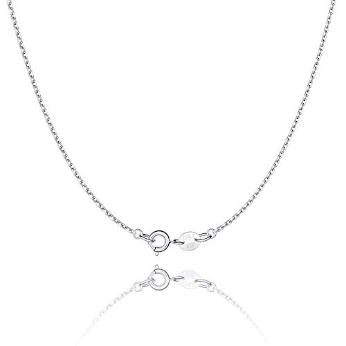 Jewlpire 925 Sterling Silver Chain Necklace Chain for Women Girls 1.1mm Cable Chain Necklace Upgraded Spring-Ring Clasp - Thin & Sturdy - Italian Quality 18 Inch