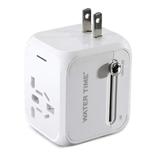 QWZ Adaptador de Viaje Universal, Adaptador Europeo Adaptador de Corriente de Viaje, Cargador de Pared, Cargador eléctrico Dispositivo de Voltaje Dual (Color : White)