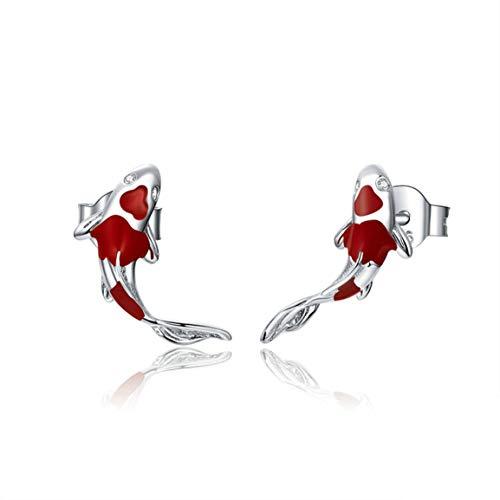 #NA Pendientes Koi Rojos Pendientes de Plata esterlina Pendientes Simples de Moda Femenina Treddy Accesorios de joyería para Mujer