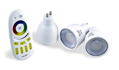 3x Wlan LED Lampe RGB-Warmweiß, 4 Watt, mit 4-Zonen Fernbedienung, GU10 von ROCKET LEDS