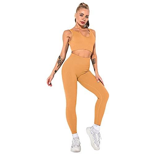 Damaibestcss Gimnasio de cintura alta polainas deportivas, fitness traje de yoga de manga corta, sin costuras de punto sexy chaleco deportivo pantalones femenino-color café claro C_M