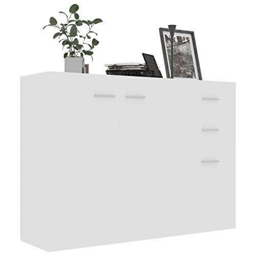 Tidyard Credenza Cucina, Credenze Soggiorno, Armadietto da Cucina in Truciolato 105x30x75 cm Bianco