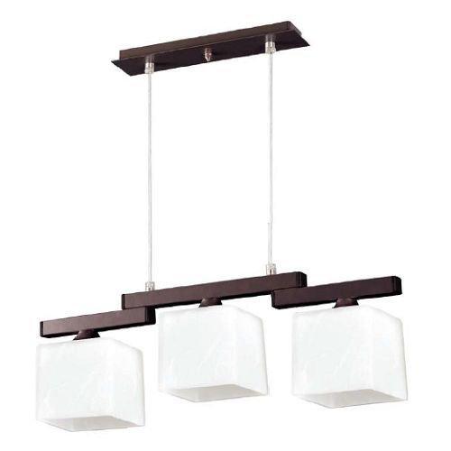 Leuchtstarke Pendelleuchte (3-flammig, Bauhaus, in Braun, Weiß, Rechteckiger Schirm) Küchenlampe Innenleuchte Hängeleuchte Hängelampe Pendellampe