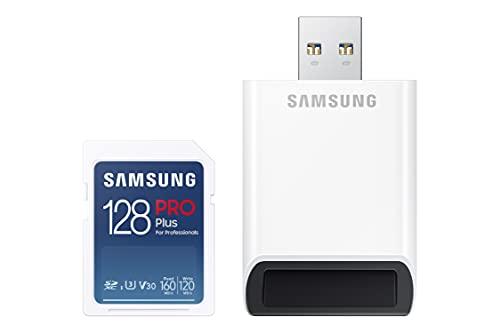 Samsung PRO Plus 128GB SDXC UHS-I U3 160MB/s Full HD & 4K UHD Speicherkarte inkl. Kartenleser (MB-SD128KB/WW)