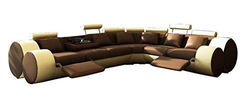 JVmoebel LEDERSOFA Design ECKSOFA Madrid MIT RELAXFUNKTION, Braun/Beige, 310x270 oder 270x310, Leder