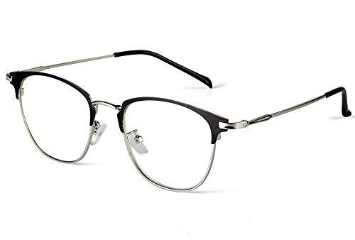 Effnny Bloqueo de luz azul Gafas anti fatiga filtro UV juegos de computadora monturas de gafas de lectura Para hombres mujeres (plata/negro/3389)
