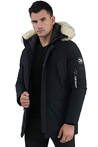 Molemsx Mens Parka Winter Coats, Alternative Down Jacket Mens, Insulated Expedition Mountain Thicken Lined Fur Hooded Long Anorak Parka Padded Winter Warm Coat Navy,XXX-Large
